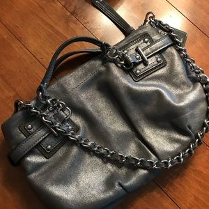 Coach like new silver leather shoulder bag
